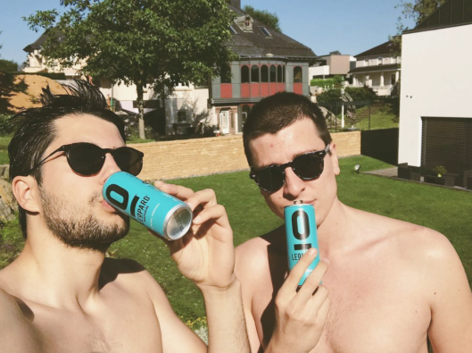 ARCO DEUM - Christos Floros (left) and Loucas Bretz (right) drinking LEOPARD NATURAL, a Luxembourgish Natural Soft Drink. (Selfie, taken by Christos Floros)